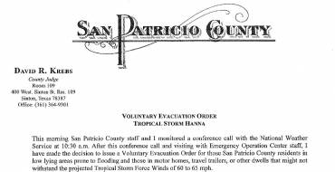 Voluntary Evacuation Order – 07-24-2020