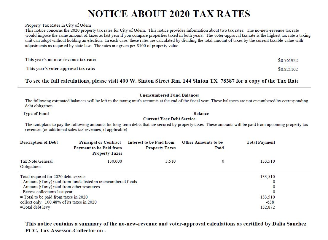 2020 COD Notice About 2020 Tax Rate