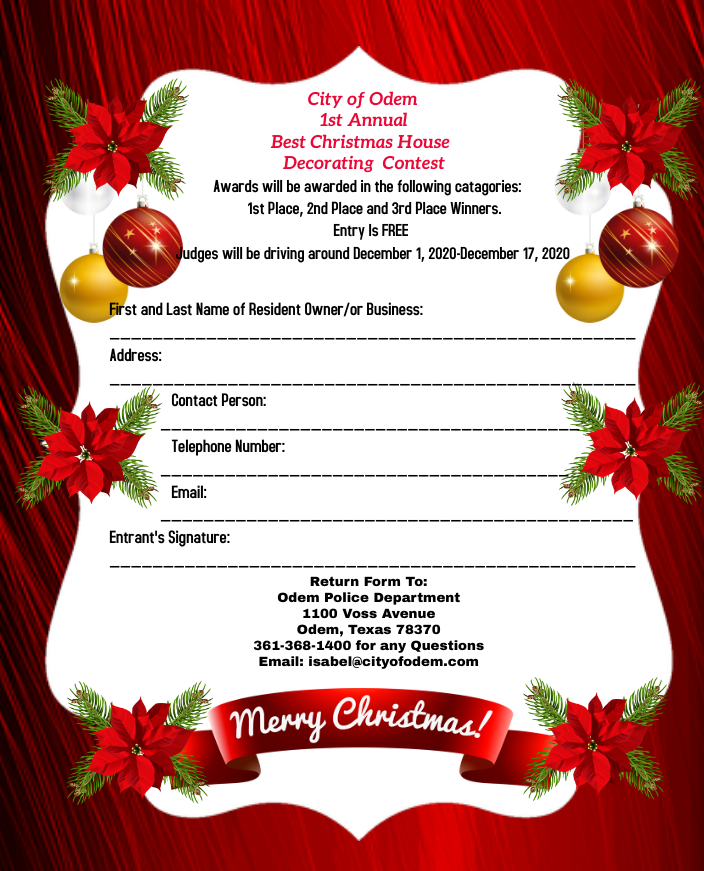 City of Odem – 1st Annual Best Christmas House Decorating Contest