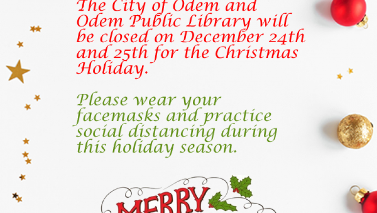 Notice of Closure – Christmas 2020